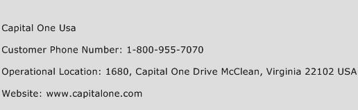 Capital One USA Phone Number Customer Service