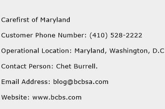 Carefirst of Maryland Phone Number Customer Service