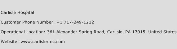 Carlisle Hospital Phone Number Customer Service