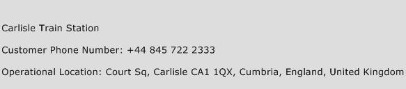 Carlisle Train Station Phone Number Customer Service