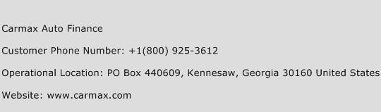 Carmax Auto Finance Phone Number Customer Service