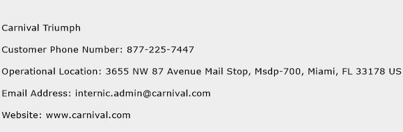 Carnival Triumph Phone Number Customer Service