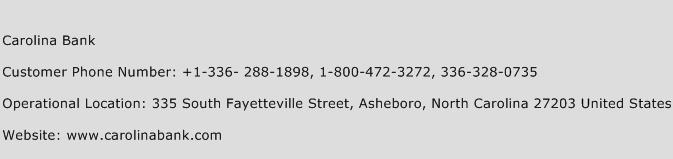 Carolina Bank Phone Number Customer Service