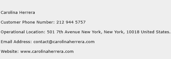 Carolina Herrera Phone Number Customer Service