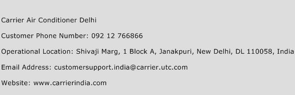 Carrier Air Conditioner Delhi Phone Number Customer Service