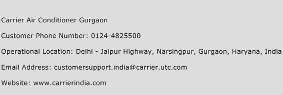 Carrier Air Conditioner Gurgaon Phone Number Customer Service