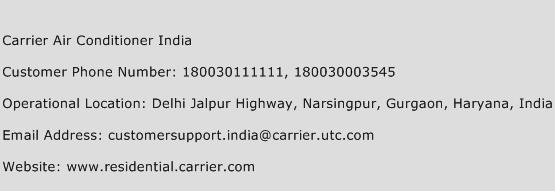 Carrier Air Conditioner India Phone Number Customer Service