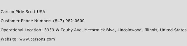 Carson Pirie Scott USA Phone Number Customer Service