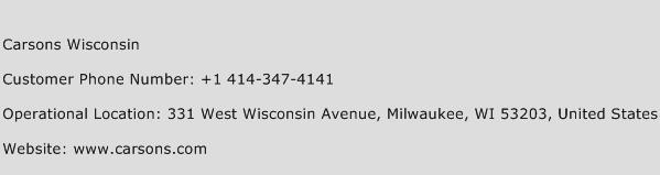 Carsons Wisconsin Phone Number Customer Service