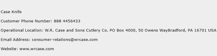 Case Knife Phone Number Customer Service