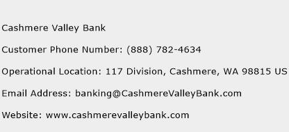 Cashmere Valley Bank Phone Number Customer Service
