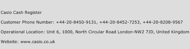 Casio Cash Register Phone Number Customer Service