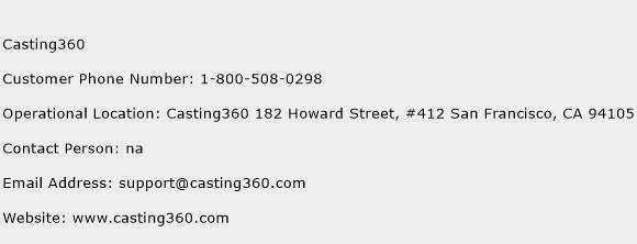 Casting360 Phone Number Customer Service