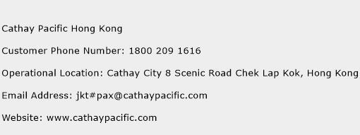 Cathay Pacific Hong Kong Phone Number Customer Service