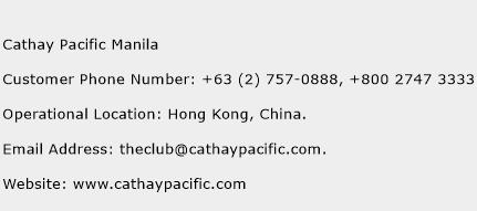 Cathay Pacific Manila Phone Number Customer Service