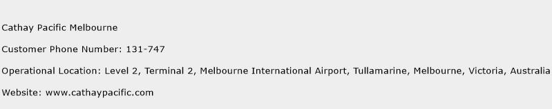 Cathay Pacific Melbourne Phone Number Customer Service