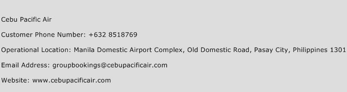 Cebu Pacific Air Phone Number Customer Service
