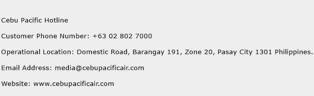 Cebu Pacific Hotline Phone Number Customer Service