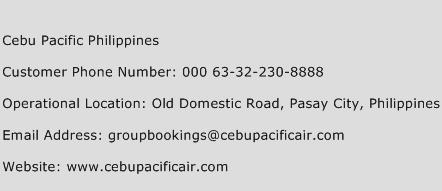 Cebu Pacific Philippines Phone Number Customer Service