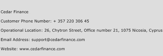 Cedar Finance Phone Number Customer Service