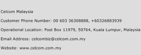 Celcom Malaysia Phone Number Customer Service