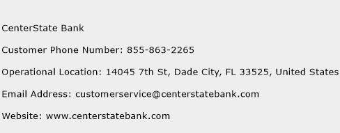 CenterState Bank Phone Number Customer Service