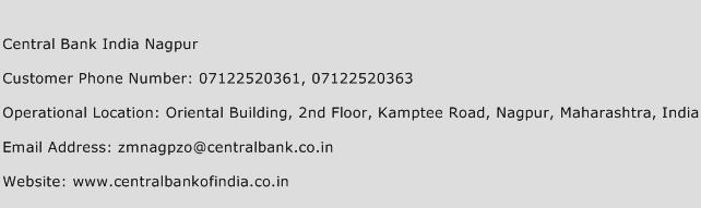 Central Bank India Nagpur Phone Number Customer Service