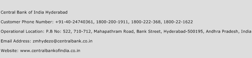 Central Bank of India Hyderabad Phone Number Customer Service