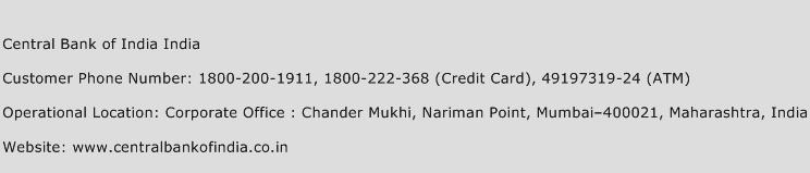 Central Bank of India India Phone Number Customer Service