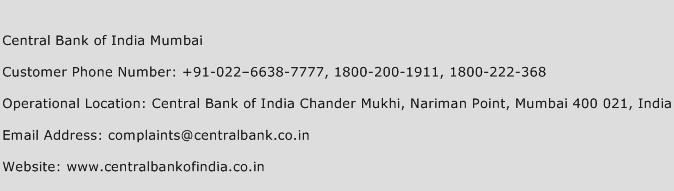 Central Bank of India Mumbai Phone Number Customer Service