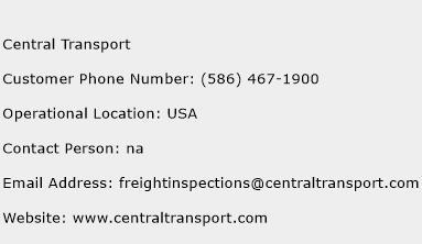 Central Transport Phone Number Customer Service