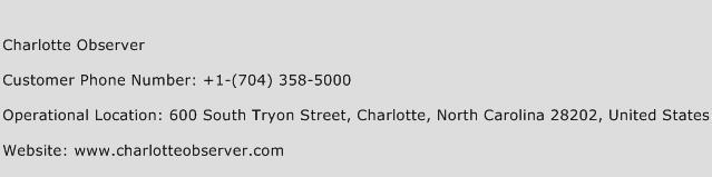Charlotte Observer Phone Number Customer Service