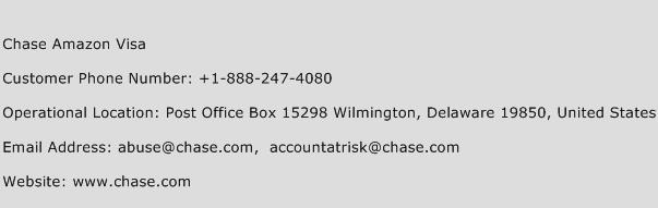 Chase Amazon Visa Phone Number Customer Service