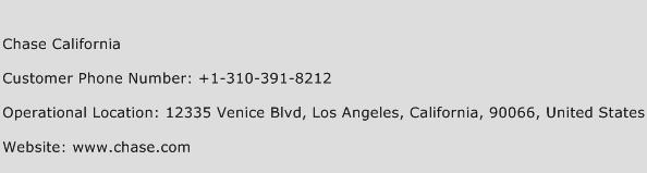 Chase California Phone Number Customer Service