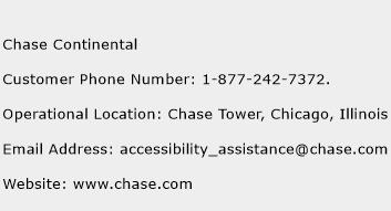 Chase Continental Phone Number Customer Service
