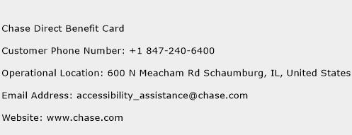 Chase Direct Benefit Card Phone Number Customer Service