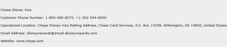 Chase Disney Visa Phone Number Customer Service