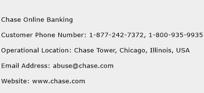 chase online customer service number