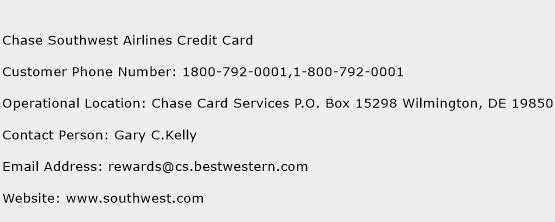 Chase Southwest Airlines Credit Card Phone Number Customer Service