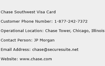 Chase Southwest Visa Card Phone Number Customer Service