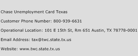 Chase Unemployment Card Texas Phone Number Customer Service