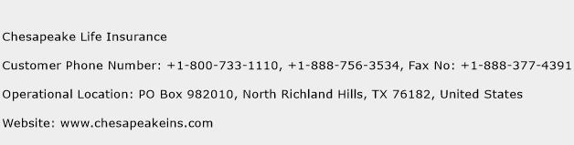 Chesapeake Life Insurance Phone Number Customer Service
