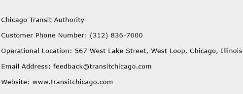 Chicago Transit Authority Phone Number Customer Service