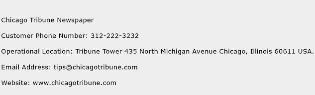 Chicago Tribune Newspaper Phone Number Customer Service