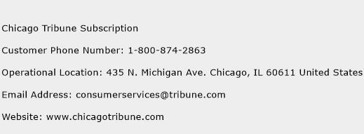 Chicago Tribune Subscription Phone Number Customer Service
