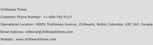 Chilliwack Times Phone Number Customer Service