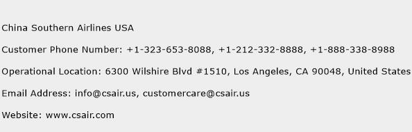 China Southern Airlines USA Phone Number Customer Service