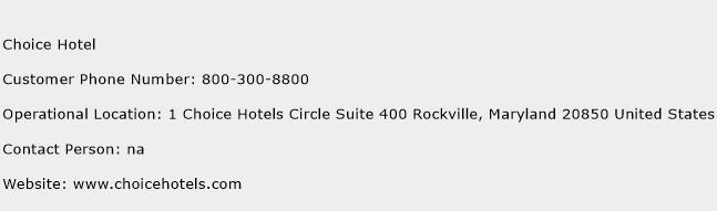 Choice Hotel Customer Service Phone Number Contact Toll