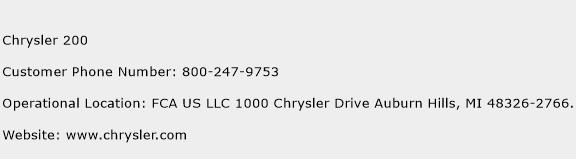 Chrysler 200 Phone Number Customer Service