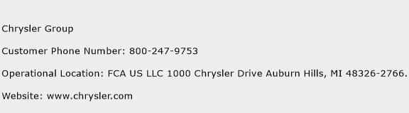 Chrysler Group Phone Number Customer Service